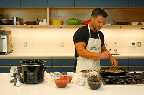 Clark Bartram cooks testosterone boosting, belly fat burning chili, his Super Bowl meal of choice.