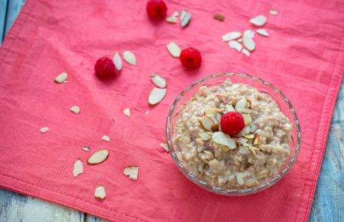 bowl of homemade oatmeal with almond slivers
