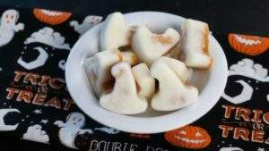 Easy Pumpkin Yogurt Bites Recipe shaped like witch hats