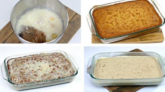 A collage of in process shots showing how to make an Old Fashioned Cajun Crunch Cake.